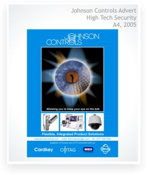 Graphic design, advert design, Johnson Controls, full page design in High Tech Security