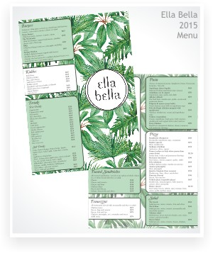 graphic design, menu, Ella Bella