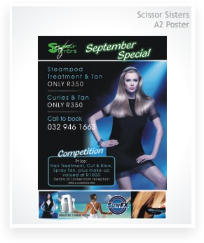 Graphic Design, Scissor Sisters Hair Studio, A2 poster