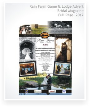 graphic design, advert designs, full page, bridal magazine, Rain Farm Game & Lodge