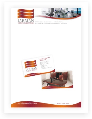 corporate identity, Jarman Office, letterhead and business card