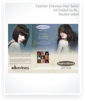 graphic design A4 folded to DL, zigzag brochure, double sided, Fashion Cheveux Hair Salon