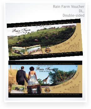 graphic design, Rain Farm DL voucher double sided