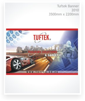 Graphic design, large format design, Tuftek banner